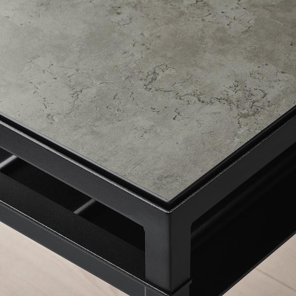 NYBODA Coffee table w reversible table top, dark grey concrete effect/black, 120x40x40 cm