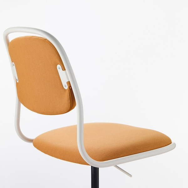 ÖRFJÄLL swivel chair white/Vissle dark yellow 110 kg 68 cm 68 cm 94 cm 49 cm 43 cm 46 cm 58 cm
