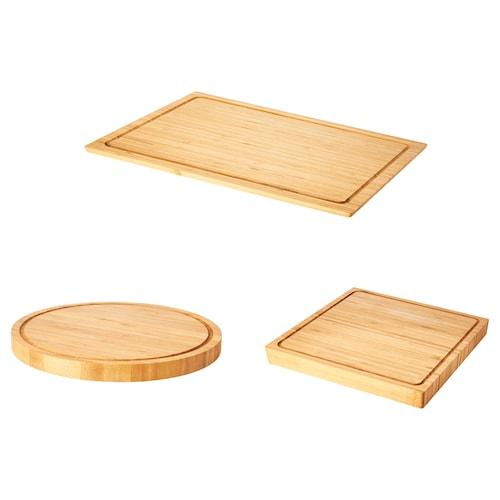 OLEBY chopping board, set of 3 bamboo 44 cm 28 cm