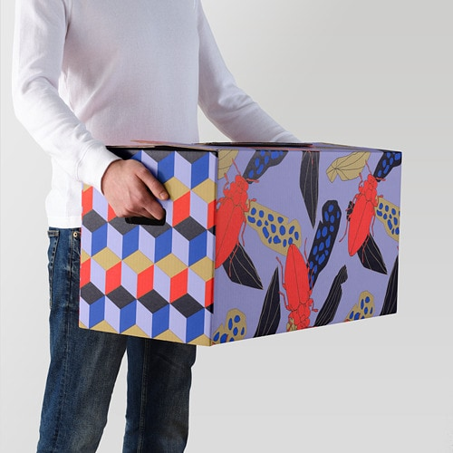OMBYTE Packaging box IKEA A sturdy, stackable box made of cardboard which you can easily fold together and use again.