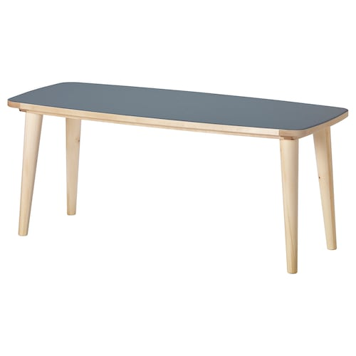OMTÄNKSAM coffee table anthracite/birch 115 cm 60 cm 55 cm