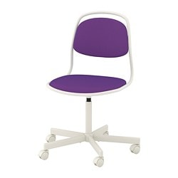 ÖRFJÄLL swivel chair, white, Vissle purple