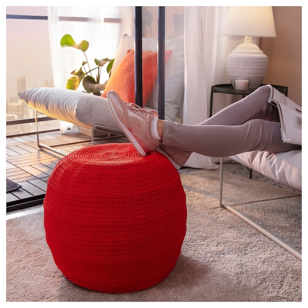 OTTERÖN pouffe cover, in/outdoor red 41 cm 48 cm