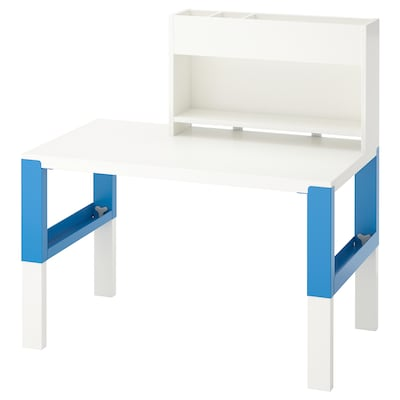 PÅHL Desk with add-on unit, white/blue, 96x58 cm