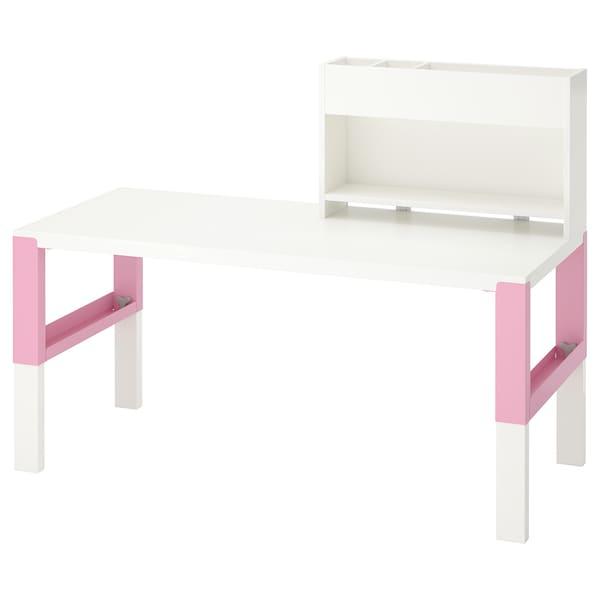 PÅHL desk with add-on unit white/pink 128 cm 58 cm 98 cm 111 cm 50 kg