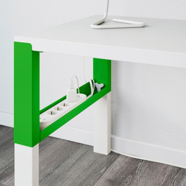 PÅHL Desk with shelf unit, white/green, 128x58 cm