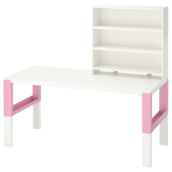 PÅHL Desk with shelf unit, white/pink, 128x58 cm