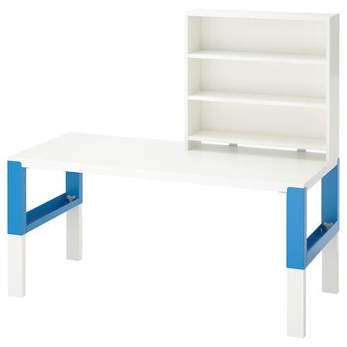 PÅHL desk with shelf unit white/blue 128 cm 58 cm 119 cm 132 cm 50 kg