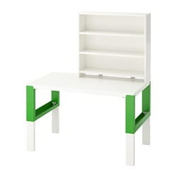 PÅHL desk with shelf unit, white, green