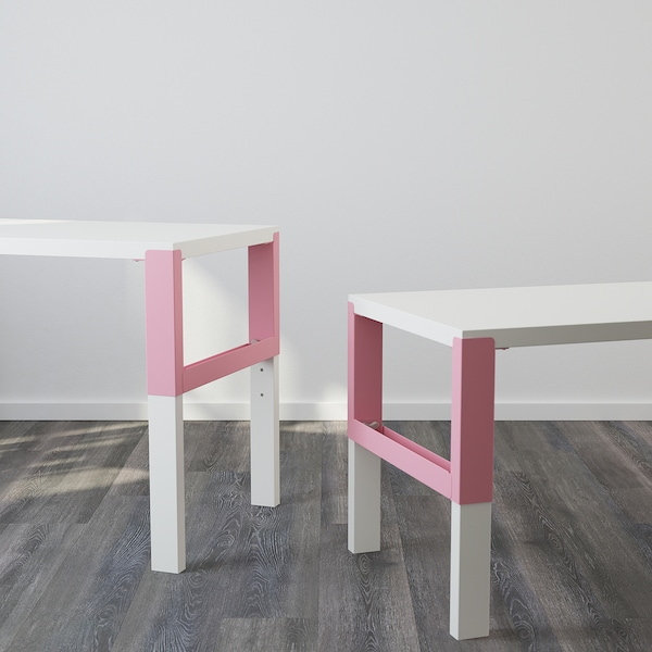 PÅHL desk with shelf unit white/pink 128 cm 58 cm 119 cm 132 cm 50 kg