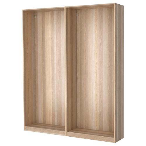 PAX 2 wardrobe frames white stained oak effect 200.0 cm 35.0 cm 236.4 cm 35.5 cm