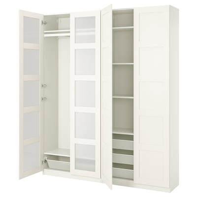 PAX / BERGSBO Wardrobe combination, white/frosted glass, 200x38x236 cm