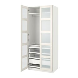 PAX / BERGSBO wardrobe combination, white, frosted glass