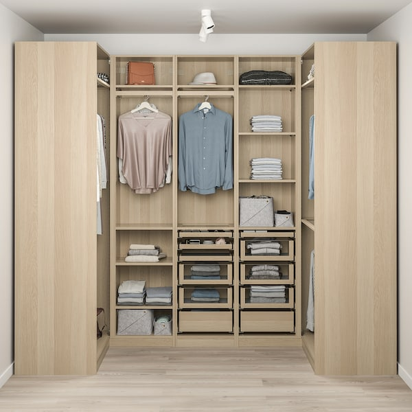 PAX Corner wardrobe, white stained oak effect, 113/271/113x236 cm