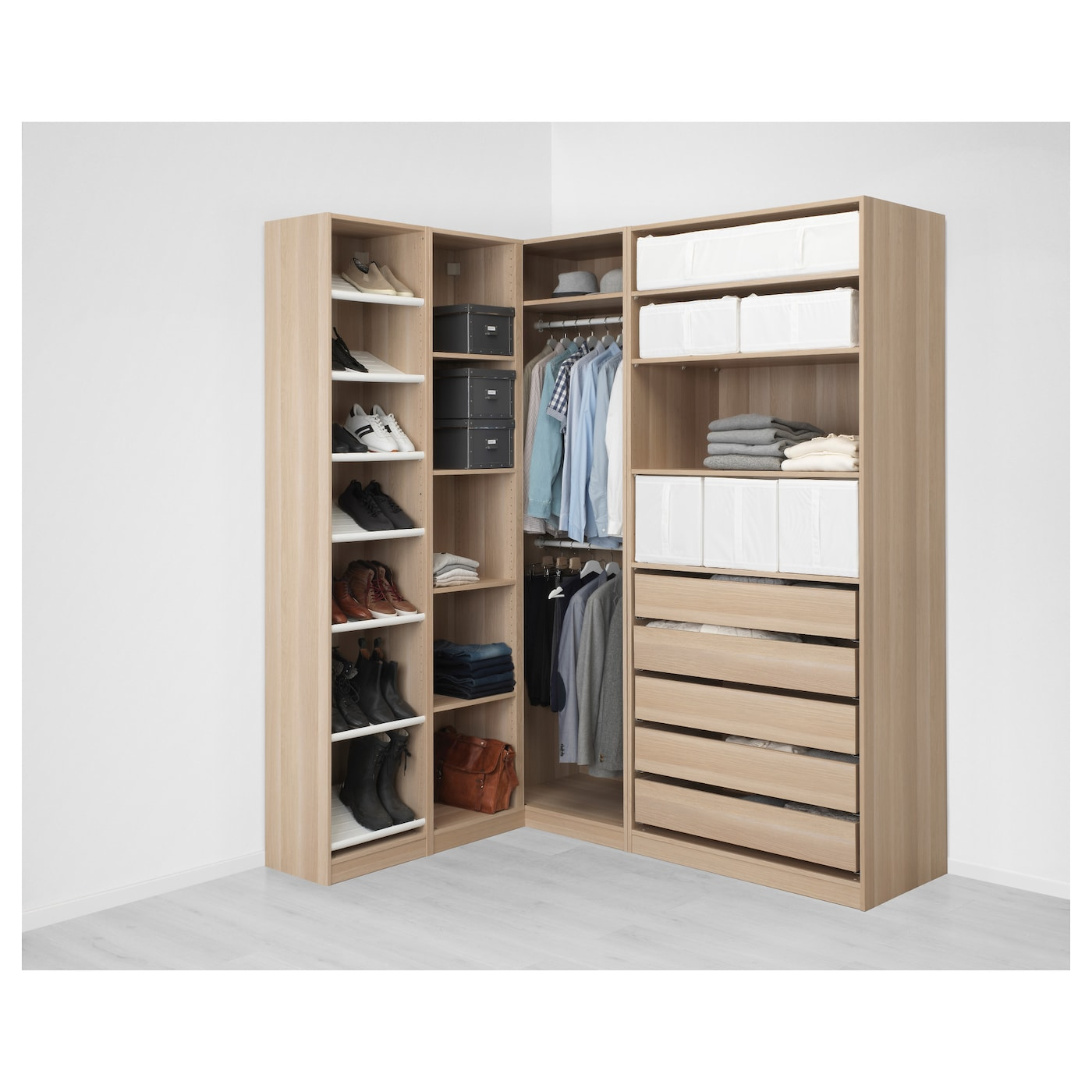 Ikea Armadio Ad Angolo.Pax Corner Wardrobe White Stained Oak Effect Ikea