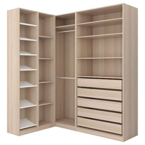 PAX corner wardrobe white stained oak effect 236.4 cm 187.8 cm 160.3 cm