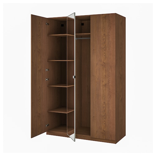 PAX / FORSAND/VIKEDAL wardrobe combination brown stained ash effect/mirror glass 150.0 cm 60.0 cm 236.4 cm