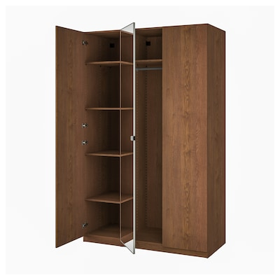 PAX / FORSAND/VIKEDAL Wardrobe combination, brown stained ash effect/mirror glass, 150x60x236 cm