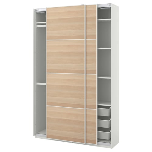 PAX / MEHAMN wardrobe combination white/white stained oak effect 150.0 cm 44.0 cm 236.4 cm