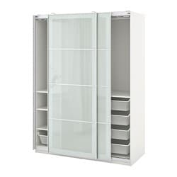 PAX / SEKKEN wardrobe combination, white, frosted glass