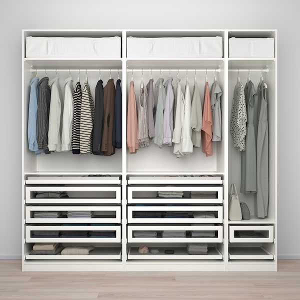 PAX / TYSSEDAL wardrobe combination white/white glass 250.0 cm 60.0 cm 236.4 cm