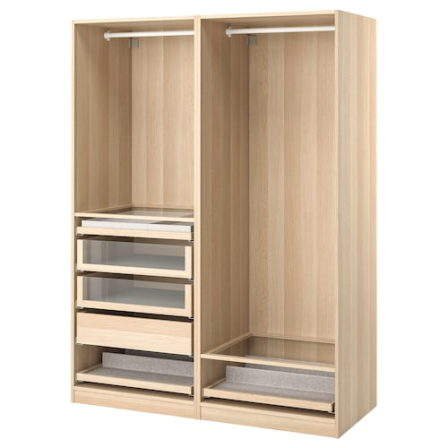 PAX wardrobe combination white stained oak effect 150.0 cm 58.0 cm 201.2 cm