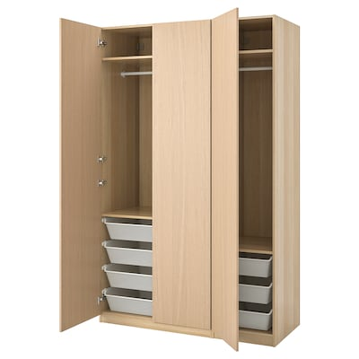PAX Wardrobe, white stained oak effect/Forsand white stained oak effect, 150x60x236 cm