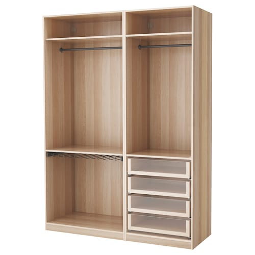 PAX wardrobe white stained oak effect 175.0 cm 58.0 cm 236.4 cm
