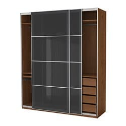 PAX wardrobe, brown stained ash effect, Uggdal grey glass