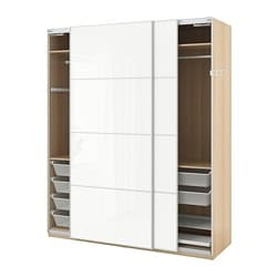 PAX wardrobe, white stained oak effect, Färvik high-gloss/white