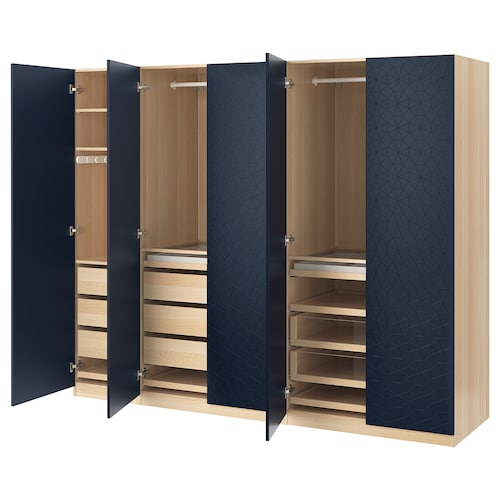 PAX wardrobe white stained oak effect/Hamnås black-blue 250.0 cm 60.0 cm 201.2 cm