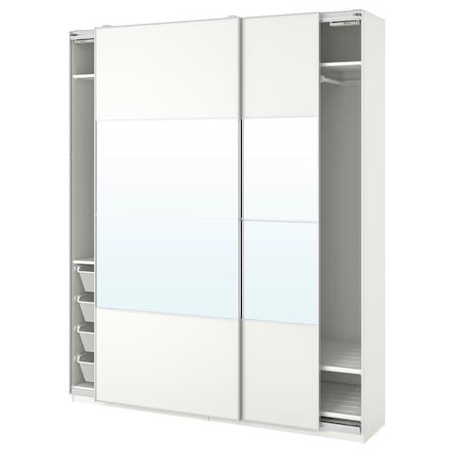 PAX wardrobe white/Mehamn Auli 200.0 cm 44.0 cm 236.4 cm