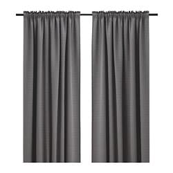PIAMARIA room darkening curtains, 1 pair, grey, stripe