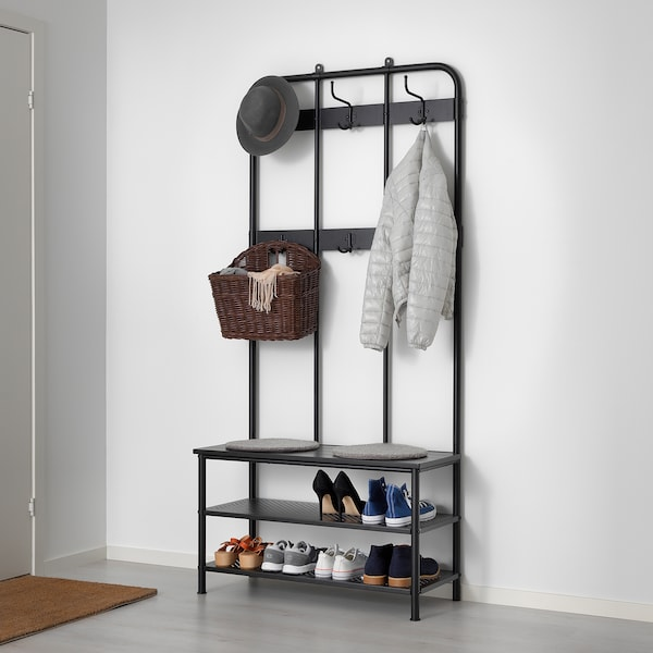 PINNIG Coat rack with shoe storage bench, black, 193 cm