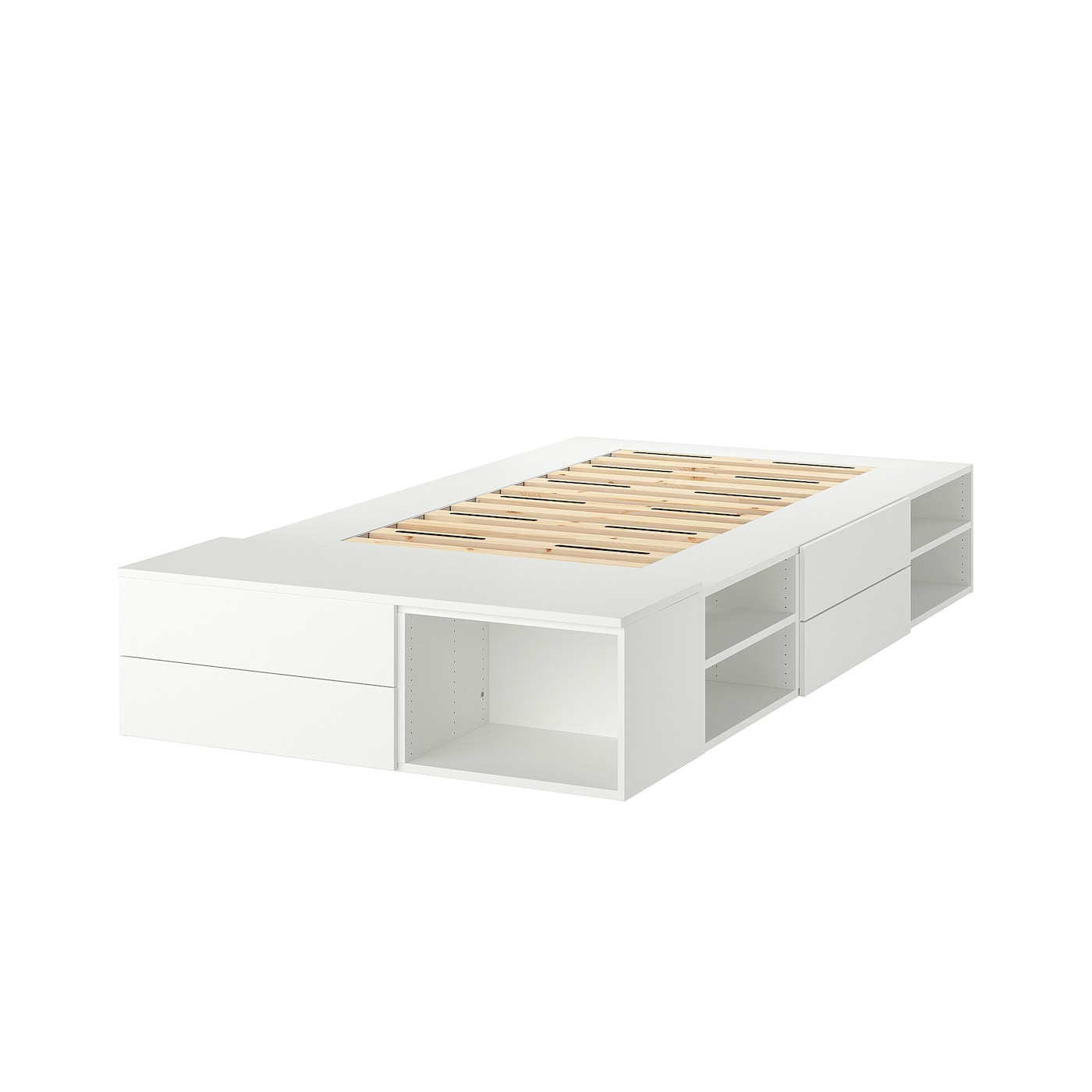 Platsa Bed Frame With 4 Drawers White Fonnes Ikea