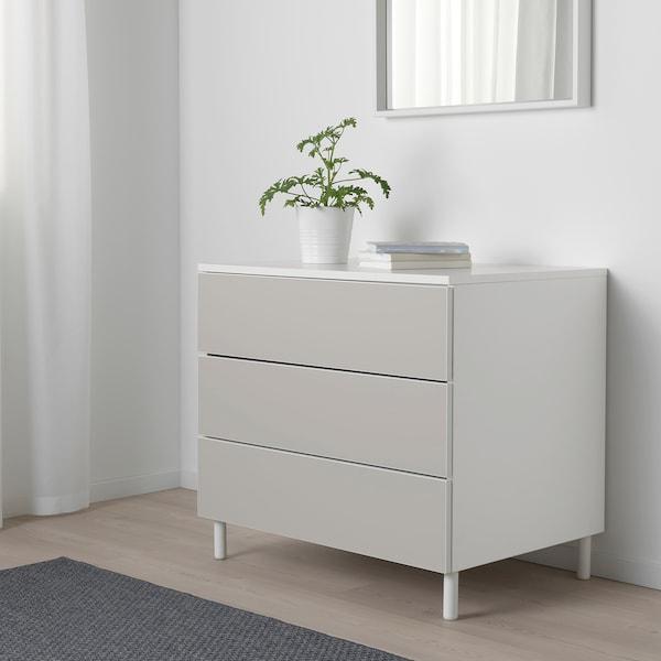 PLATSA Chest of 3 drawers, white/Skatval light grey, 80x57x73 cm