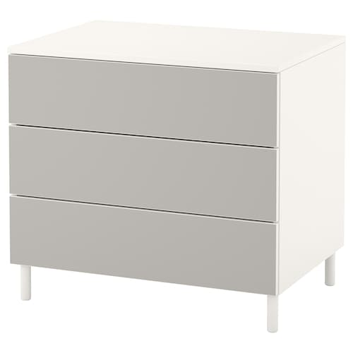 PLATSA chest of 3 drawers white/Skatval light grey 80 cm 57 cm 73 cm