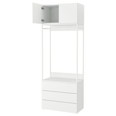 PLATSA Wardrobe with 2 doors+3 drawers, white/Fonnes white, 80x42x221 cm