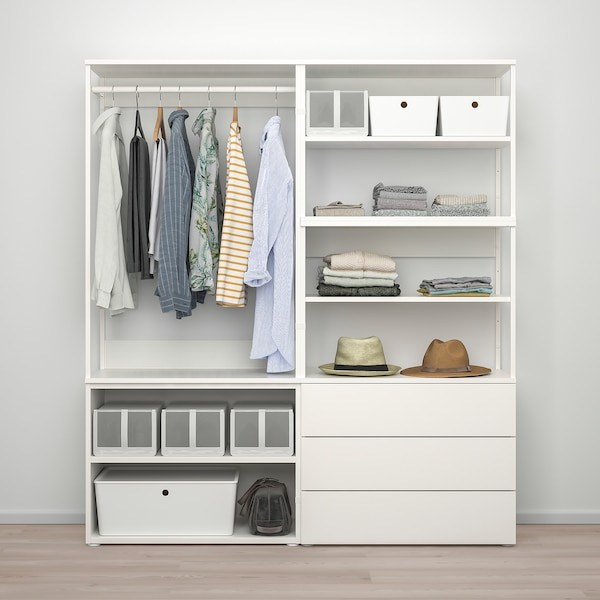 PLATSA wardrobe with 2 doors+3 drawers white/Fonnes white 160 cm 42 cm 181 cm