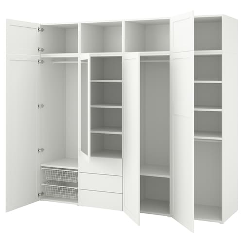 PLATSA wardrobe with 7 doors+3 drawers white/Sannidal Ridabu 240 cm 57 cm 221 cm