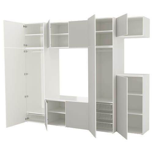 PLATSA wardrobe white/Skatval light grey 300 cm 57 cm 243 cm