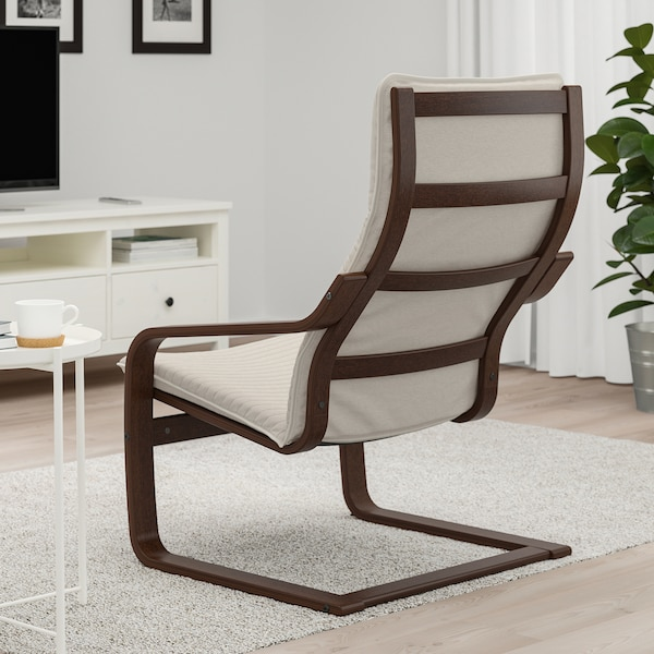 POÄNG Armchair, brown/Knisa light beige