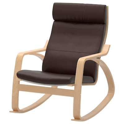 POÄNG Rocking-chair, birch veneer/Glose dark brown