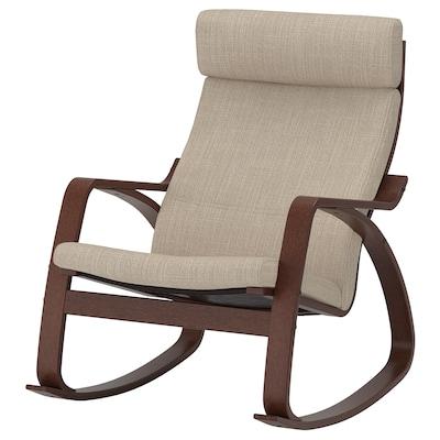 POÄNG Rocking-chair, brown/Hillared beige