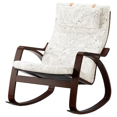 POÄNG Rocking-chair, brown/Vislanda black/white