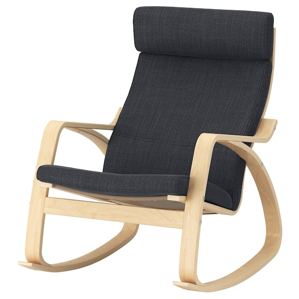 POÄNG rocking-chair birch veneer/Hillared anthracite 68 cm 94 cm 95 cm 56 cm 50 cm 45 cm