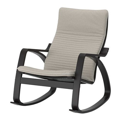 Ikea Poang Dondolo.Poang Rocking Chair Black Brown Knisa Light Beige