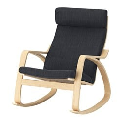 POÄNG rocking-chair, birch veneer, Hillared anthracite