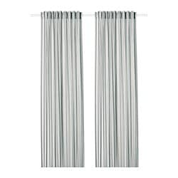 PRAKTKLOCKA curtains, 1 pair, grey, striped