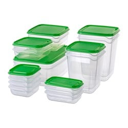 PRUTA food container, set of 17, transparent, green